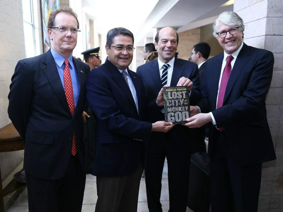 Elkins and Preston Present Honduran President with 'Lost City of the Monkey God'
